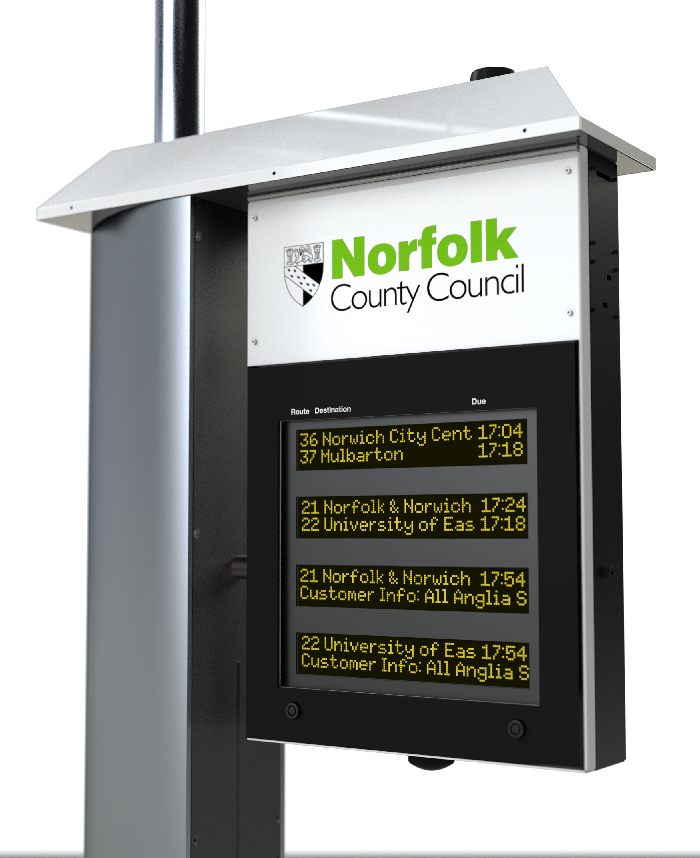 Chronos Solar Powered bus stop flag with the Norfolk County Council Logo and showing bus times. Concept by Nexus Alpha LPS
