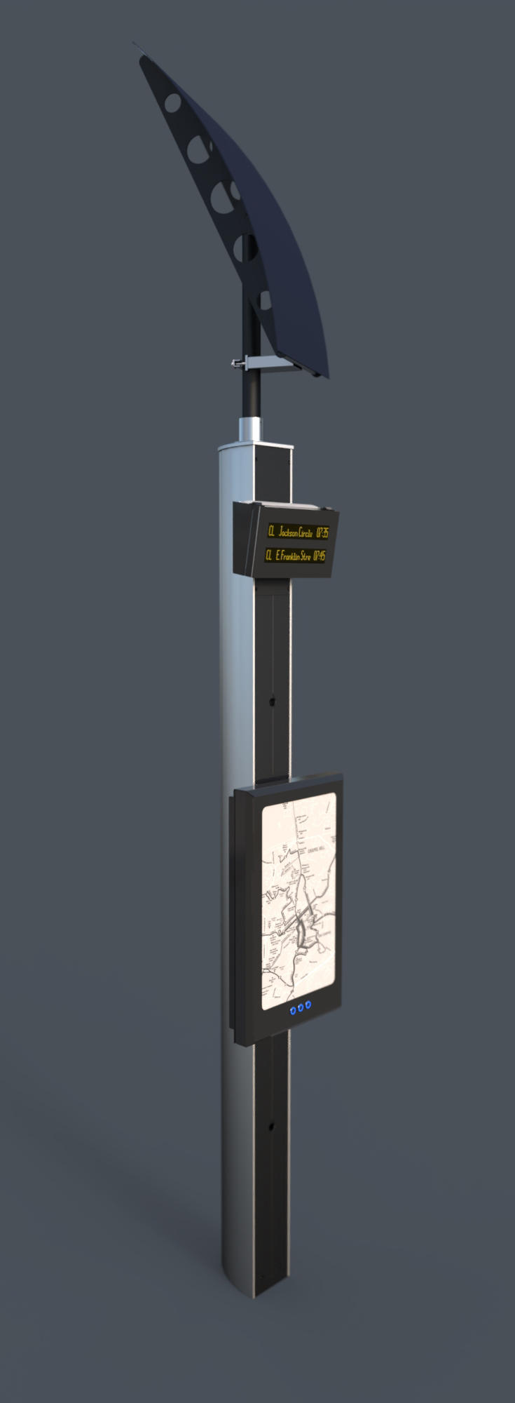 Solar powered generated bus stop stand with interactive map. Concept by Nexus Alpha LPS