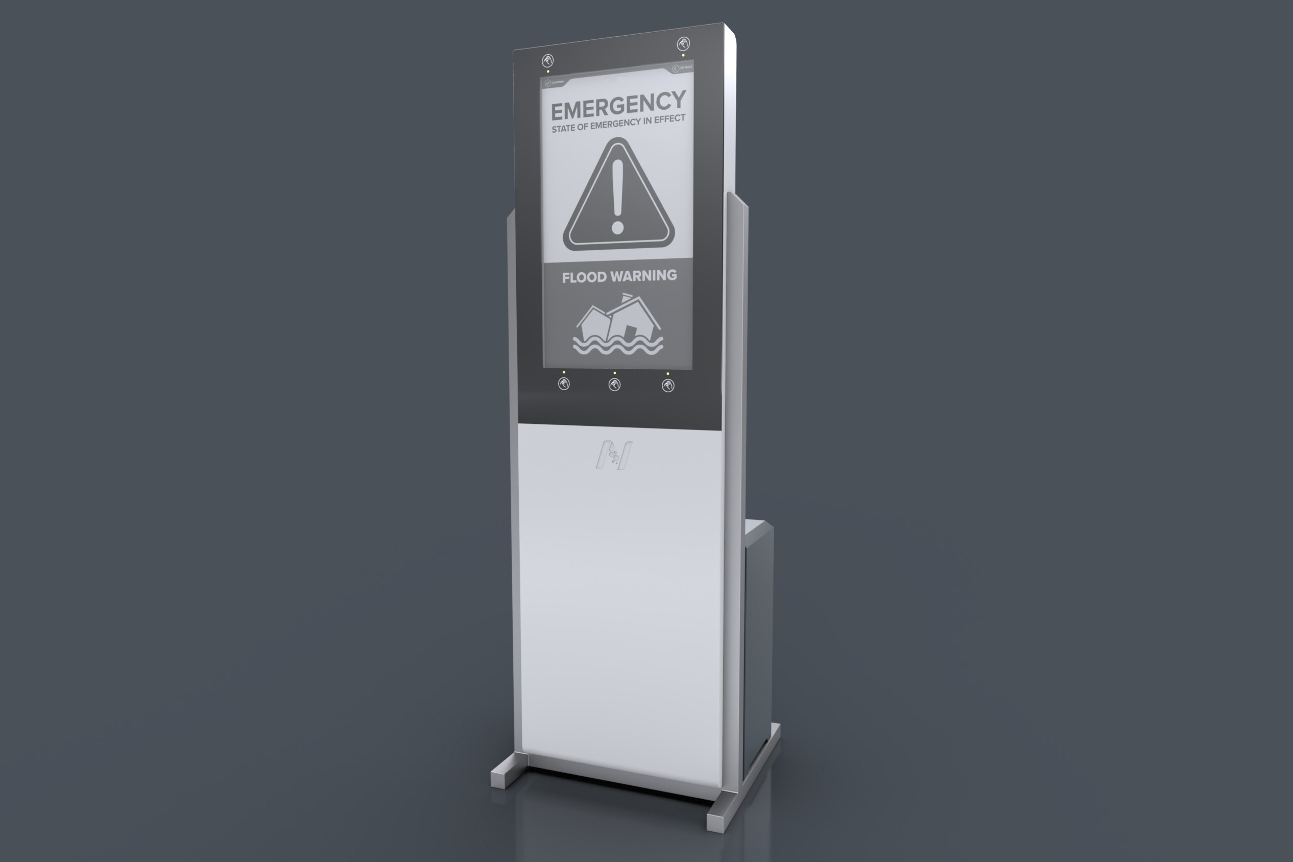 Stand alone solar powered generator Inergy device with emergency flood warning signal. Concept by Nexus Alpha LPS